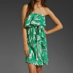 MM Couture Dress Green Tropical Strapless